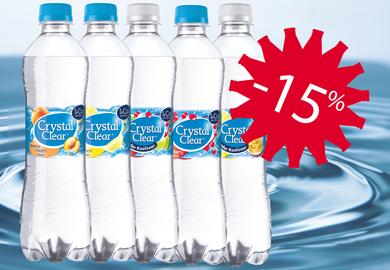 Bestel nu! - Crystal Clear Cit./ Pas./ Cranb.&Lemon/ Lemon/ Peach/ Spark. Cranberry / tray 6 x 0,50L