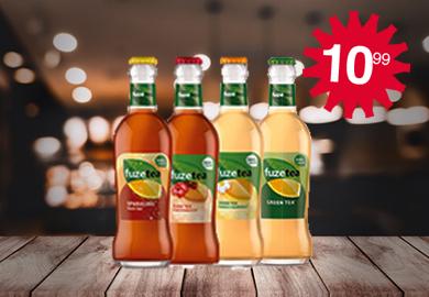 Bestel nu! - Fuze Tea Green/ Mango Chamo/ Peach Hibiscus/ Sparkling / krat 24 x 0,20L